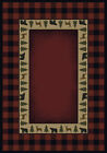Red Plaid Trees Wildlife Border Rustic/Primative Area Rug Checked 130-47636
