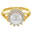 Clear Crystal Simulated Pearl Bridal Women's Halo Ring