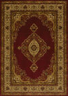 Red Traditional Oriental Carpet Medallion Scrolls Bordered Vines  Area Rug