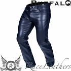 BUFFALO CLASSIC CRUISER HARLEY STYLE BLACK LEATHER MOTORCYCLE BIKE TROUSERS