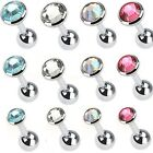 New Joblot Pack Of Three Gem Tragus Cartilage Bar Studs Clear Pink Rainbow Aqua
