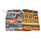 3Pcs 9.5x12cm Linen Bunt Tribal Tribe Drawstring Jewellery Gift Bags Pouches JR