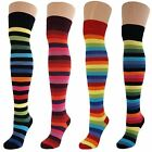 Womens Ladies Girls Over Knee Thigh High Thick Striped Socks Lot New
