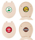 NEW GAS OIL LOGO THEME LIGHT PINK FINISH MOLDED WOOD ROUND TOILET SEAT COVER LID