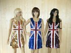SILVER GOLD BLUE UNION JACK ENGLAND BLING SEQUINNED LADIES FANCY DRESS COSTUME