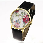 New Fashion Leather Geneva Rose Flower Watch For Women Dress Quartz Watches