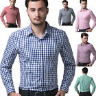 Plain Men's Casual Shirt Dress Shirt Checks Business Long Sleeve T Shirt Tops
