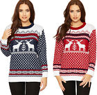 Womens Knitted Reindeer Snowflake X-Mas Jumper Ladies Long Sleeve Festive Top