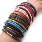 Genuine Leather Bracelet Men Women Fashion Vintage Braided Magnetic Clasp NEW