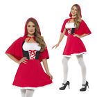 Smiffys Womens Little Red Riding Hood Short Dress & Cape Ladies Fancy Costume
