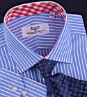 Men's Blue Striped Formal Business Dress Shirt Contrast Red Gingham Check Plaid