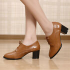 Fashion Womens Lace Up Block Casual Chic Oxford Mid Heel Shoes Plus Size