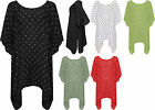 Womens Plus Spot Print Dress Top Ladies Hanky Hem Polka Dot Short Sleeve 16-26