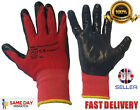 Red Black new Nitrile Coated Work Gloves Garden Grip Men's Builder Construction