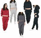 Womens Ladies Distressed Ripped Laser Cut Hooded Top Joggers Loungewear Trouser
