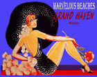 POSTER MARVELOUS BEACHES GRAND HAVEN MI GIRL HAT FASHION VINTAGE REPRO FREE S/H