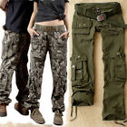 Fashion Womens Military Army  Green Cargo Pocket  Leisure Trousers Outdoor Pants