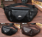 Men Waist Bag Cross Chest Pack Real Genuine cow Leather Pouch black brown 7221