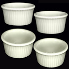 Ramekin Condiment Sauce Bowl 3 oz Fluted Stoneware (Buy 1 or Set of 4) _3126