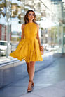 NEW Yellow Summer Sleeveless Women Casual Solid Sundress Party Knee Mini Dress