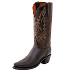 Lucchese Women's Burnished Mad Dog Goat Boot w/Snip Toe - Chocolate