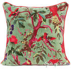 OLIVE VELVET BIRD THROW SOFA CUSHION PILLOW COVER Boho Bohemian Indian Decor