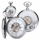 ROYAL LONDON MECHANICAL SKELETON POCKET WATCH Silver Full Hunter 1/2 Window NEW