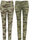 New Womens Camo Army Print Full Length Pocket Pants Ladies Jeans Trousers 8-14