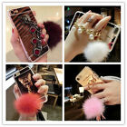 Mirror PEARL Bracelet RING Rabbit hair Fur Ball ears Rotat Stand TPU Case Cover