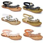 Women's  Casual Strapped Summer Shoes Ladies Diamante Flower Comfy Sandals