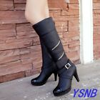 Women's Pantent Leather Round Toe Zip Buckle Strap Knee Hig Boots High Heel