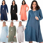 New Womens Italian Lagenlook Full Sleeve Cotton Dress Size UK 10 14 16