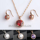 A1-S049 Fashion CZ Solitaire Dangle Earrings Necklace Jewelry Set 18KGP Crystal