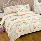French Shabby Chic Bed in Bag Duvet Set with Pretty Butterfly & Script Writing