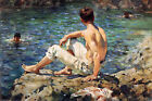 Green and Gold Painting by Henry Scott Tuke Art Reproduction