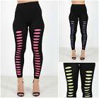Ladies Womens Ripped Lace Stretch Leggings Fashion Party Punk Clubbing Pants