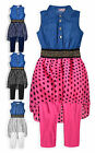 Girls Legging Set New Kids Polka Dot Spot Denim Tunic Top Outfit Ages 2-10 Years