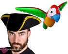 BLACK TRICORN PIRATE HAT AND INFLATABLE PARROT FANCY DRESS COSTUME ACCESSORY KIT