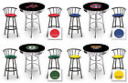 MLB BLACK & CHROME BAR TABLE SET W/BLACK METAL STOOLS FOR...