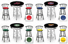 furniture for man cave - MLB BLACK & CHROME BAR TABLE SET W/BLACK METAL STOOLS FOR MAN CAVE, GAME ROOM