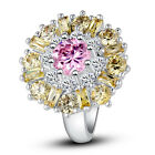 Luxury Pink White Topaz  Citrine AAA Silver Women Fashion Ring Size 7-12 Jewelry