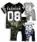 Boys T-Shirt Shorts Set New Kids Logo Cammo Short Sleeved Top Outfit 4-12 Years