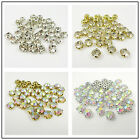 A++ GOLD & SILVER 3mm - 8mm SEW ON RHINESTONES WITH CLEAR & AB STONES *6 SIZES*