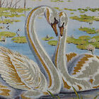 "46"" WALL DECOR NEEDLEPOINT WOVEN PAINTING TAPESTRY: SWAN LOVERS WEDDING GIFT"