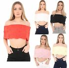 Womens Ladies Bardot Laser Cut Embroidered Frill Off Shoulder Crop Top