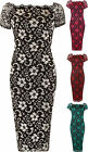 New Womens Plus Floral Lace Lined Scallop Neck Short Sleeve Ladies Midi Dress