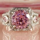 Delicate Pink White Topaz Gemstones Silver Jewelry Women Ring Size 7 8 9 10 Gift