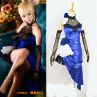 Fate/stay Night Extella Saber Royal Blue Party Dress Cosplay Costume