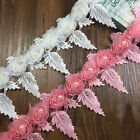 1/3/5 Yards Embroidered Lace Trim Flower Pearl Fringe Wedding Dress Sewing Craft