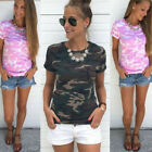 UK Women Casual Camouflage T Shirt Short Sleeve Tops Ladies Loose Summer Blouse